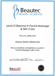 Certificate Beauty-Bar Hertfordshire